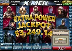 X-MENでEXTRA POWER JACKPOT賞金3,249.14ドルを獲得!