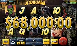 SPIDER-MANとFantastic Four 50 Lines のボーナスゲームで合計賞金約68,000.00ドル獲得!