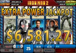 IRON MAN 2 25LINESでEXTRA POWER JACKPOT賞金6,581.27ドル獲得!