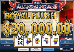 All American Video Poker でROYAL FLUSH 賞金20,000.00ドル獲得!