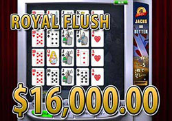 4ライン Jacks or BetterでROYAL FLUSH 賞金16,000.00ドル獲得!